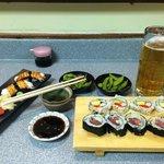 Tuna roll, Edamame, Salmon, Octopus and California roll