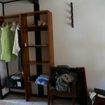 Cubbies and Closet with Rod Rack on wall