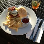 sunset burger and drink for under 12 USD.