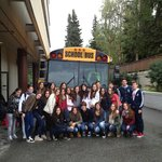 Exchange students from Spain board the bus to meet their host families