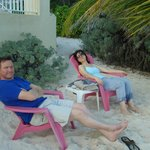 Relaxing in front of the beach.