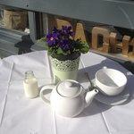 Beautiful table at riverside in sunshine