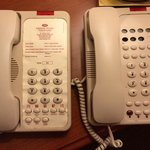 2 room phones -- only 1 has labels on it!