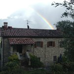Rocca di Pierle with a rainbow over the top.  Appropriate!