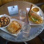 Chicken pot pie with a wild rice salad, pumpkin salad sandwich and a soup w/cornbread on the sid