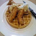 "Chicken & Waffles w/Debbie's Cajun Sauce - ""Makes your tongue wanna slap your brains out""!!"