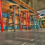 Barstools at the outdoor bar