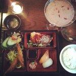 Salmon Teriyaki Bento and Sakura Ko Cocktail