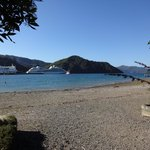 Shelley Beach with the ferries going along Queen Charlotte Sound