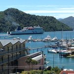 harbour view of Kaitaki docking