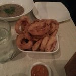 Onion rings with curry mayo dip