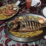 fish dish snapper and prawns