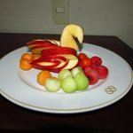 Fruit plate in our rooms upon arrival.