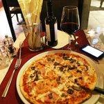 Evening pizza and wine