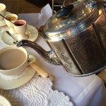 Elegant silver teapot serving traditional English Breakfast tea - delightful
