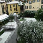 Hotel grounds covered in snow