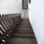 Der Treppenaufgang zunm Zimmer (Kein Lift)