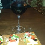 Roasted Red Pepper Bruschetta with a Glass of Chianti