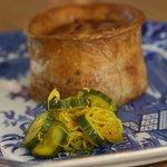 pork pie and pickled cucumber