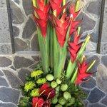 flower arrangement at reception