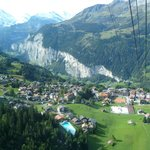 Views of Wengen and lauterbrunnen valley from inside  cableway