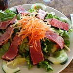 Ahi salad with locally grown vegetables.