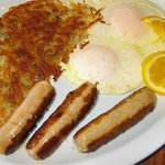 Fresh Eggs, Hashbrowns and our Special Sausage Links