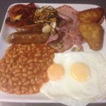 Large breakfast. Served with 2 slices thick fresh bread and a tea or coffee
