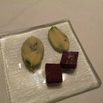 Petit fours - white chocolate hold basil leaf a must try!