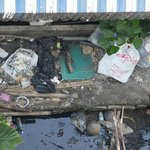 When you look down from the balcony... sewage and trash. How can people let that happen?!