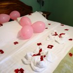 Decorated bed for birthday