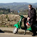 Happy Old Scooterist in Tuscany