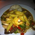 Chicken beef and shrimps with grilled veg
