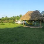the garden palapa, with table to sit  and hammocks to laze about