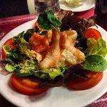 Shrimp salad with pink sauce