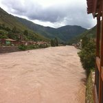 The strong Urubamba river from the balcony.