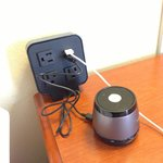 Great USB and electric plugs located on nightstand next to bed. (Speaker is mine)