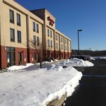 Outside hotel. Lots of snow, but the lot was clean.
