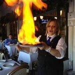 Flaming Saganaki - a masterpiece in progress! Delish!!