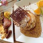 Big breakfast and banana pancakes