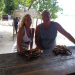 Lobster at sunset negril...set up for second timers