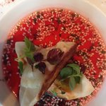 Bresse chicken gyoza with a hibiscus jus.