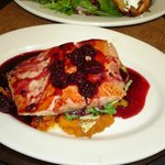 Salmon with blackberry pinot noir sauce