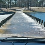 Lake water spilling over the roadway into the park