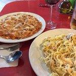 spaghetti with bolognese sauce and spaghetti carbonara