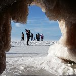 Our view from inside an Ice Cave