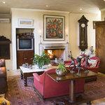 Villa lounge area with romantic fireplace