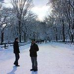 Mooi sneeuwplaatje in central park met Greg B