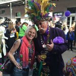Mrs M with Krewe of Kork parader!