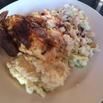 rotisserie chicken with coleslaw(fruity) and garlic mash...delicious!!